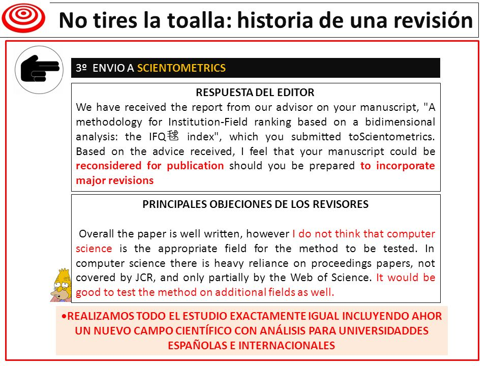 Writing a research paper PRINCIPALES OBJECIONES DE LOS REVISORES
