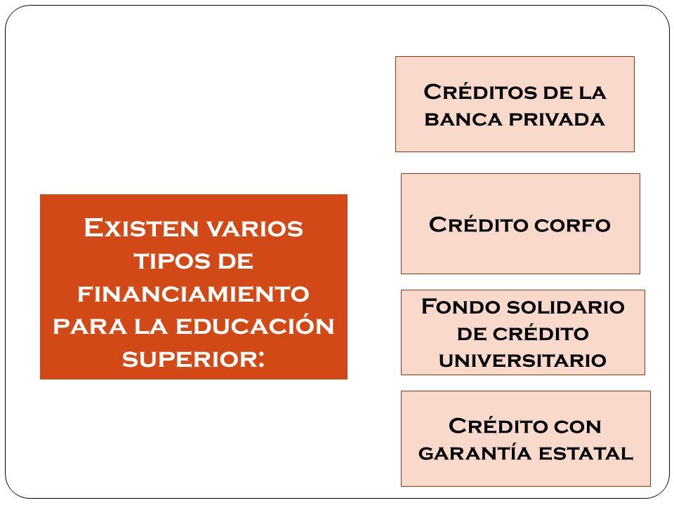 Existen varios tipos de financiamiento para la educación superior: