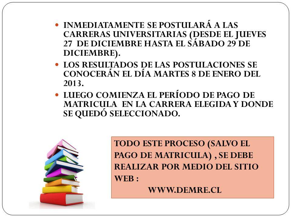 INMEDIATAMENTE SE POSTULARÁ A LAS CARRERAS UNIVERSITARIAS (DESDE EL JUEVES 27 DE DICIEMBRE HASTA EL SÁBADO 29 DE DICIEMBRE).
