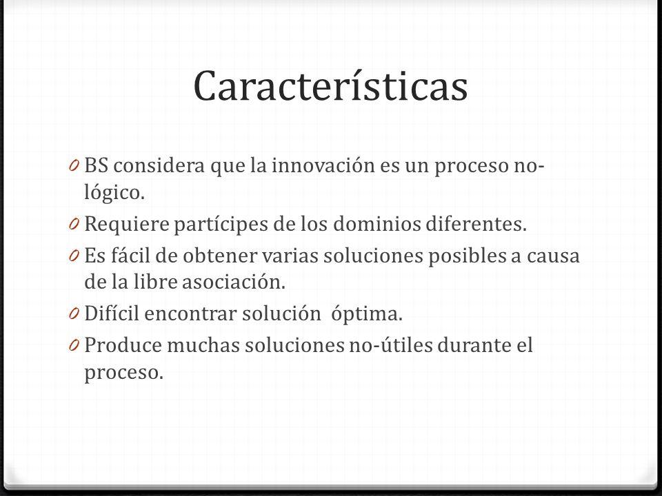 Características BS considera que la innovación es un proceso no-lógico. Requiere partícipes de los dominios diferentes.