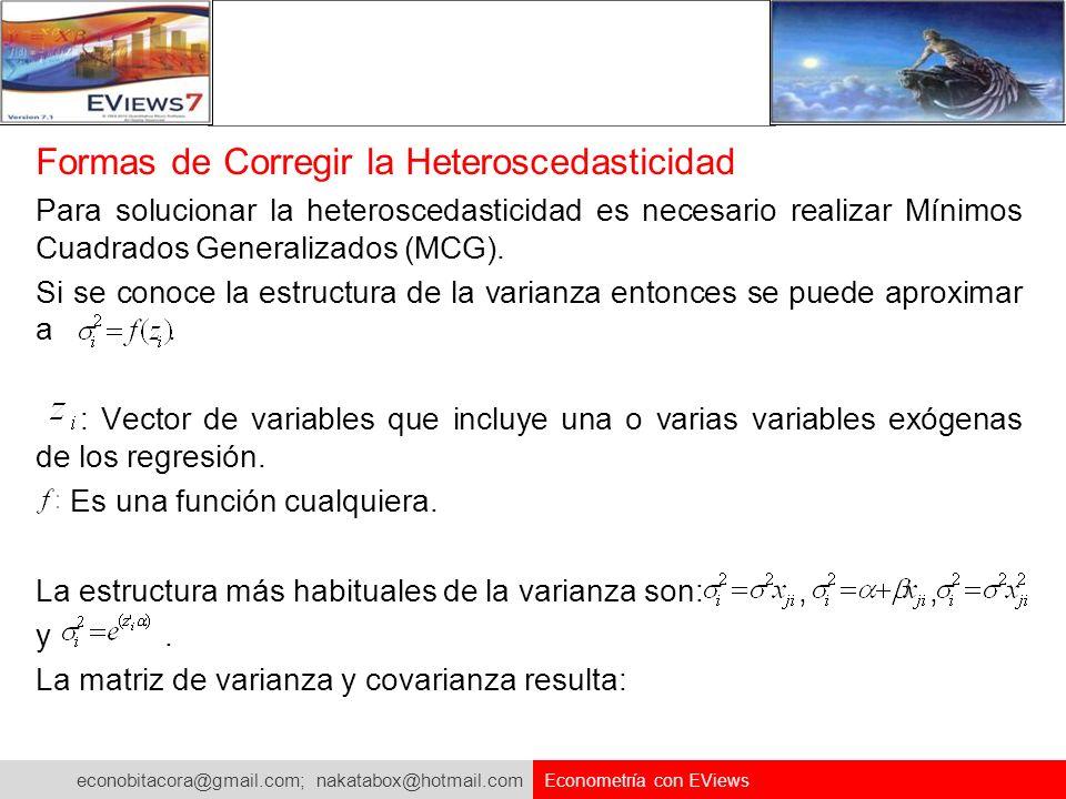 Formas de Corregir la Heteroscedasticidad