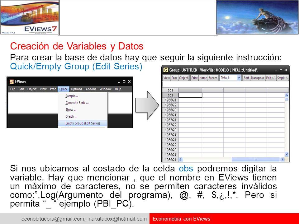 Creación de Variables y Datos