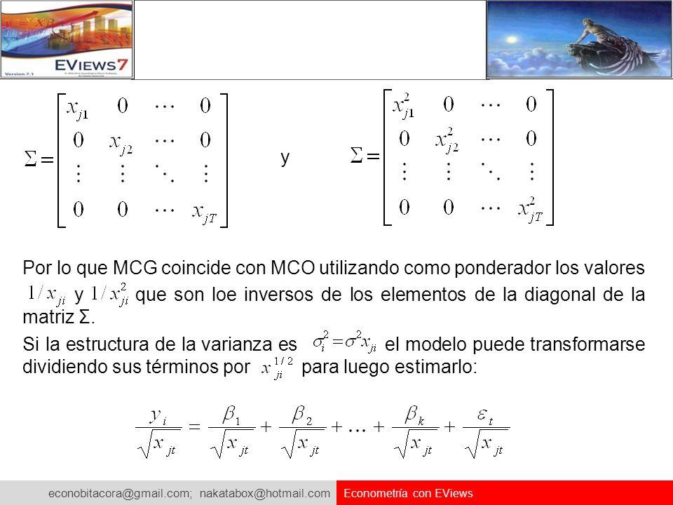 Por lo que MCG coincide con MCO utilizando como ponderador los valores