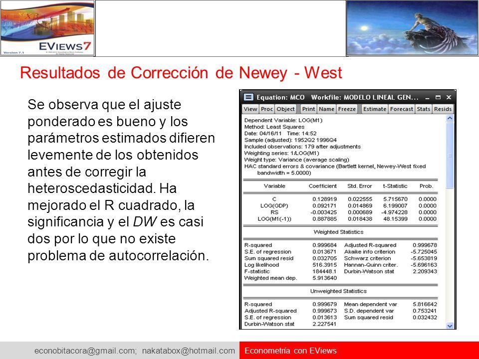 Resultados de Corrección de Newey - West