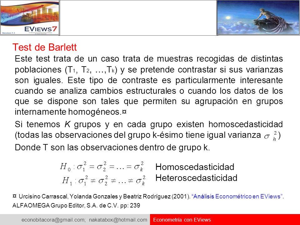 Test de Barlett Homoscedasticidad Heteroscedasticidad