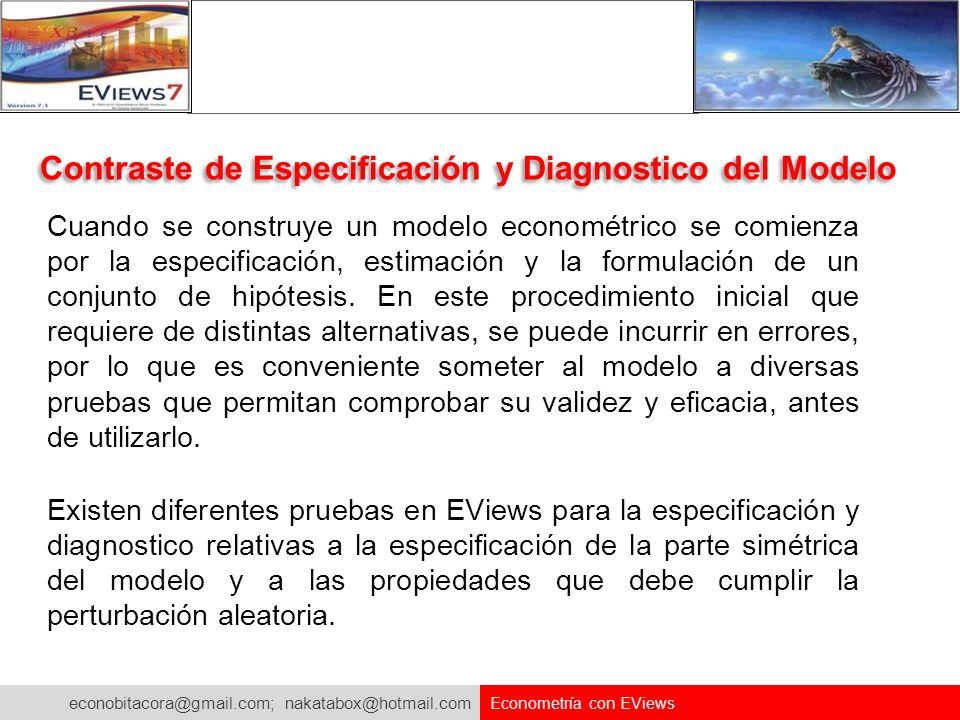 Contraste de Especificación y Diagnostico del Modelo