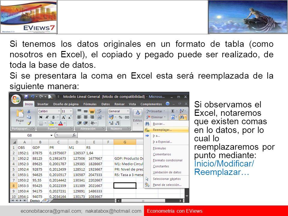 Si tenemos los datos originales en un formato de tabla (como nosotros en Excel), el copiado y pegado puede ser realizado, de toda la base de datos.