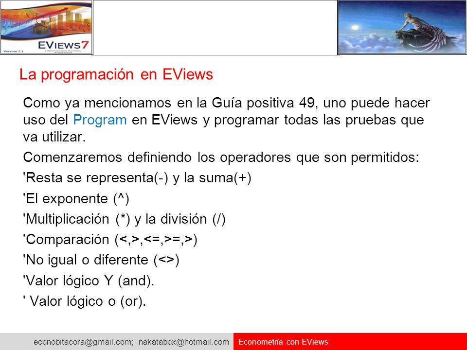La programación en EViews