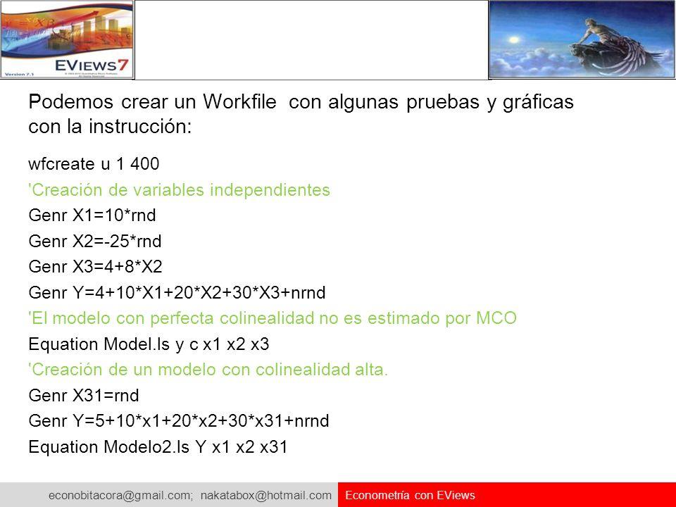 Podemos crear un Workfile con algunas pruebas y gráficas con la instrucción: