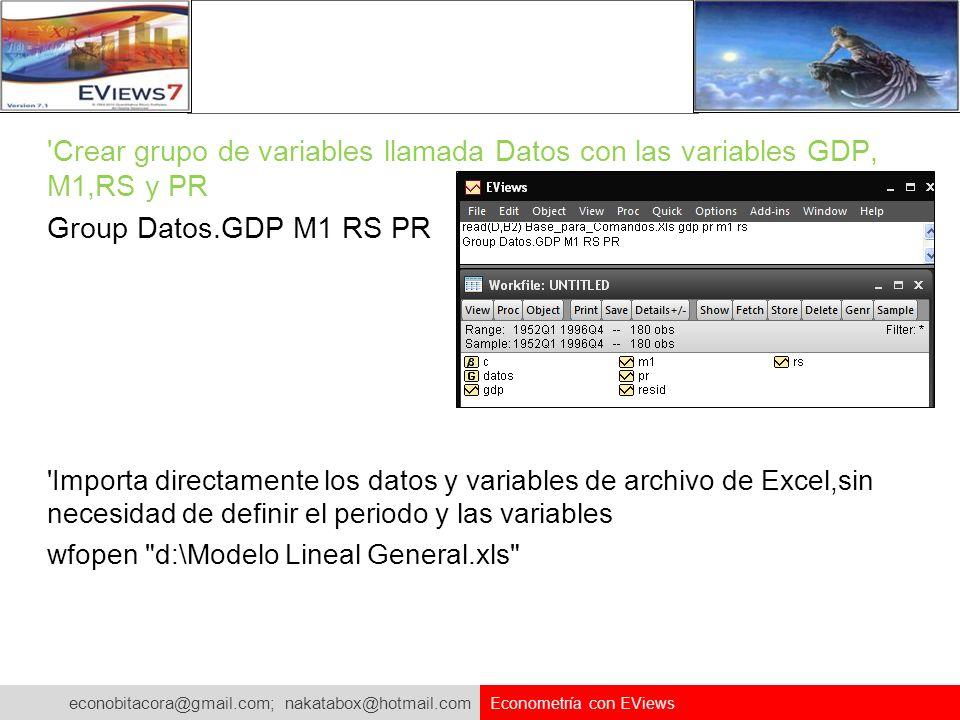 Crear grupo de variables llamada Datos con las variables GDP, M1,RS y PR