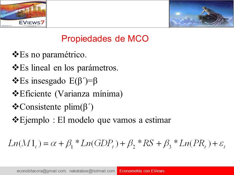 Es lineal en los parámetros. Es insesgado E(β΄)=β