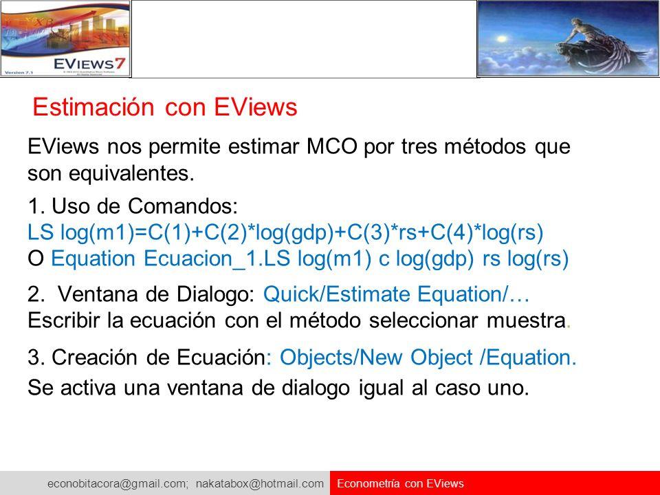Estimación con EViews EViews nos permite estimar MCO por tres métodos que son equivalentes. 1. Uso de Comandos: