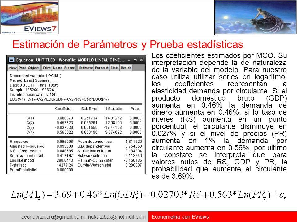 Estimación de Parámetros y Prueba estadísticas