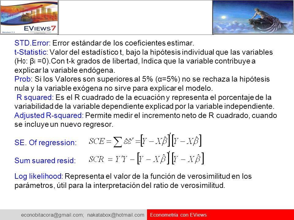 STD.Error: Error estándar de los coeficientes estimar.