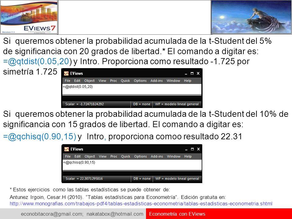 =@qchisq(0.90,15) y Intro, proporciona comoo resultado 22.31