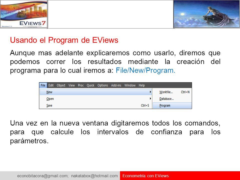 Usando el Program de EViews