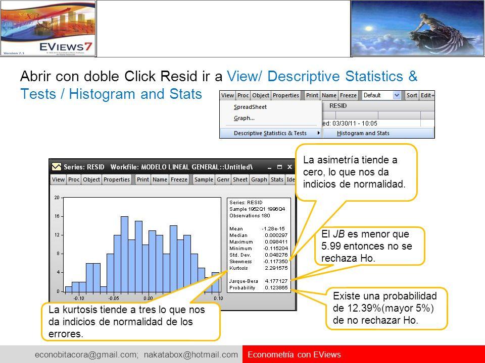 Abrir con doble Click Resid ir a View/ Descriptive Statistics & Tests / Histogram and Stats