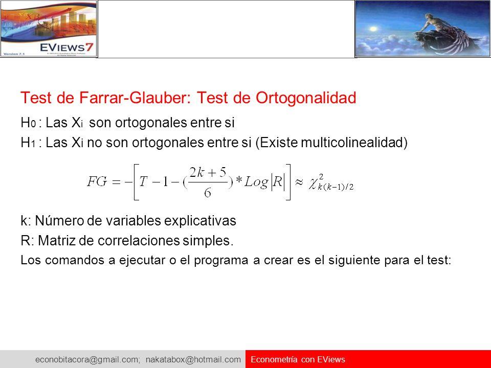 Test de Farrar-Glauber: Test de Ortogonalidad