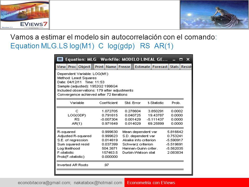 Vamos a estimar el modelo sin autocorrelación con el comando: