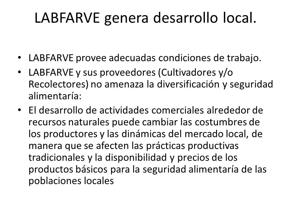 LABFARVE genera desarrollo local.