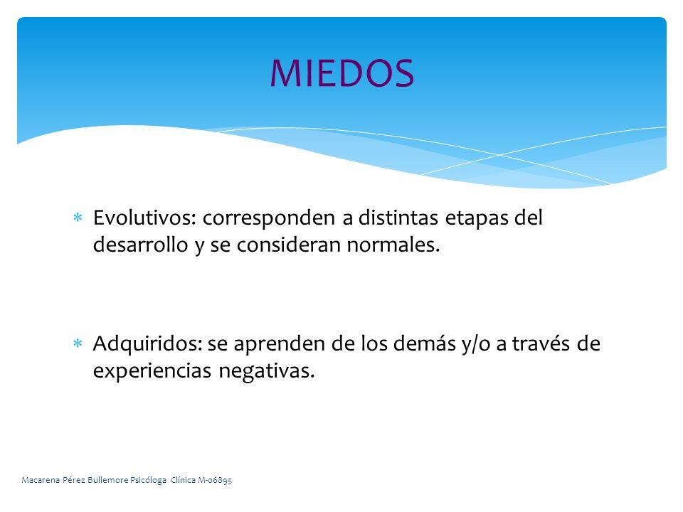 MIEDOS Evolutivos: corresponden a distintas etapas del desarrollo y se consideran normales.