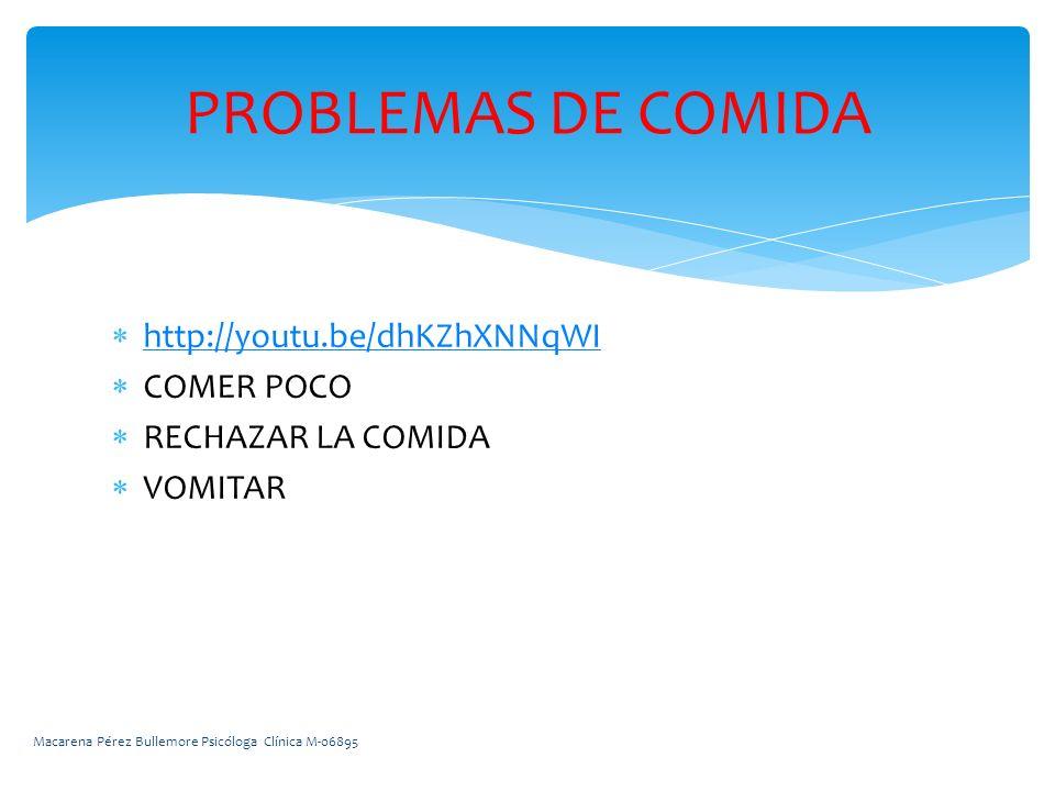 PROBLEMAS DE COMIDA http://youtu.be/dhKZhXNNqWI COMER POCO
