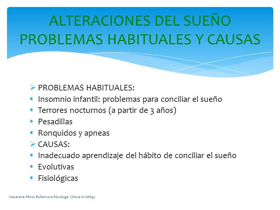 ALTERACIONES DEL SUEÑO PROBLEMAS HABITUALES Y CAUSAS