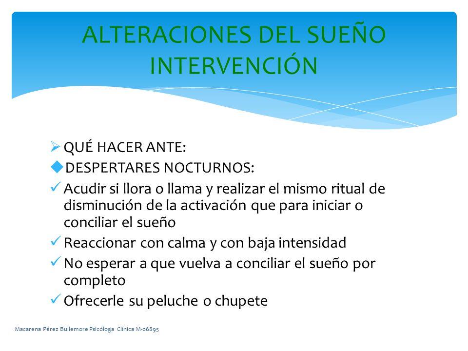 ALTERACIONES DEL SUEÑO INTERVENCIÓN