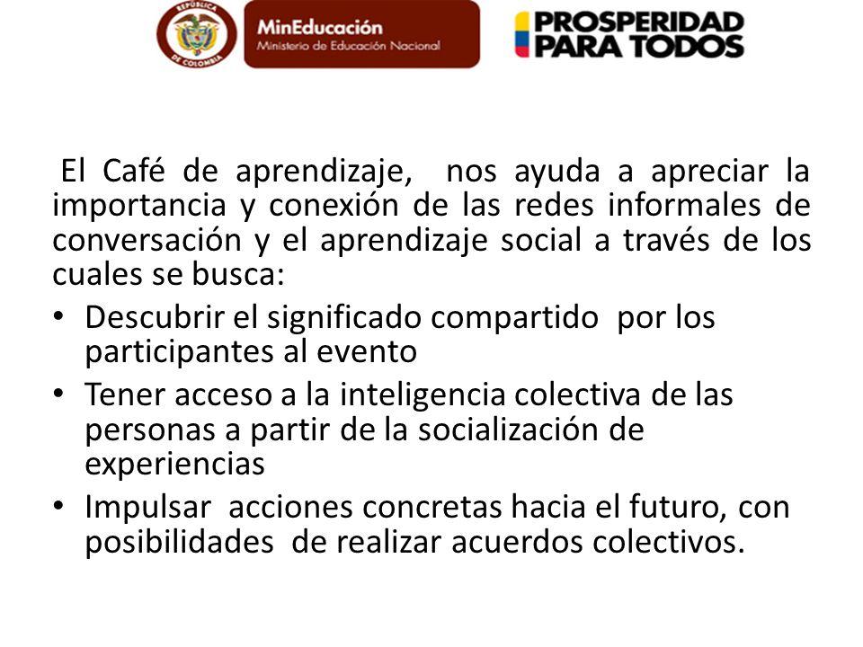 El Café de aprendizaje, nos ayuda a apreciar la importancia y conexión de las redes informales de conversación y el aprendizaje social a través de los cuales se busca: