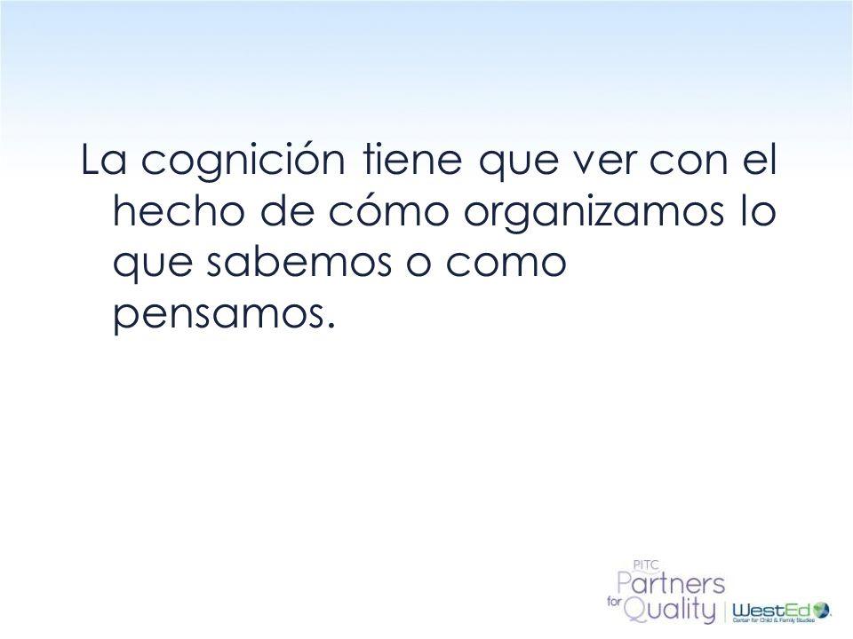 La cognición tiene que ver con el hecho de cómo organizamos lo que sabemos o como pensamos.
