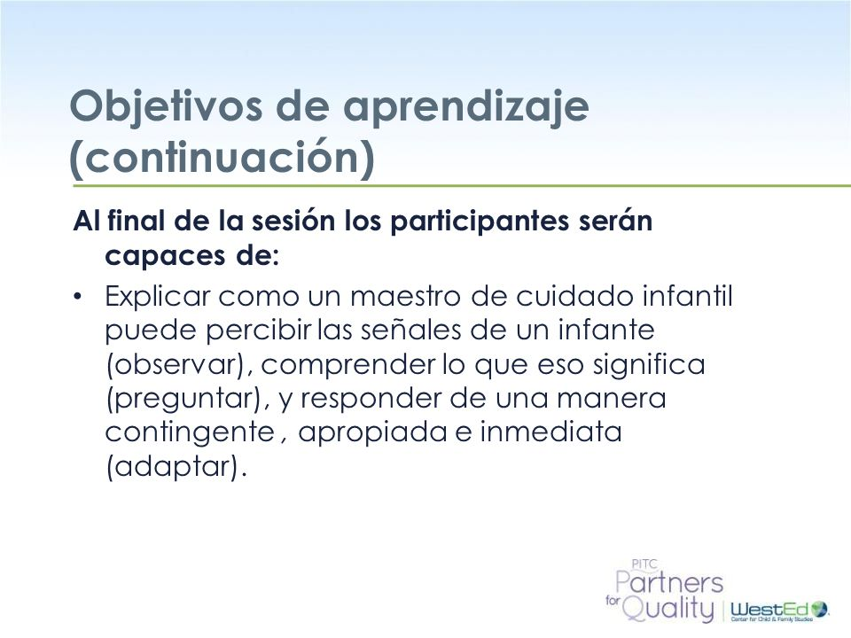 Objetivos de aprendizaje (continuación)