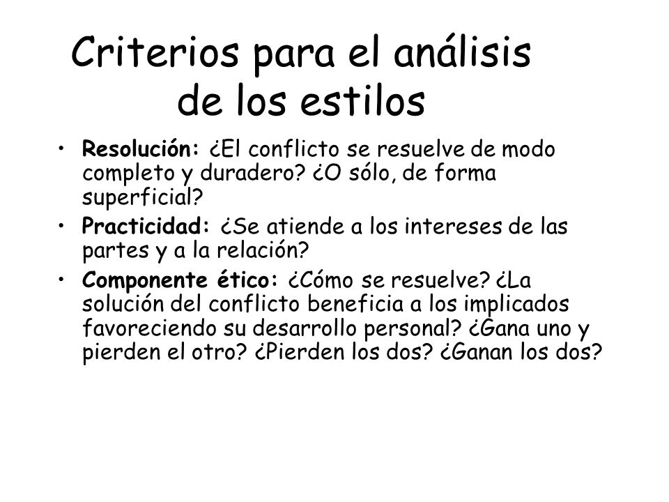 Criterios para el análisis de los estilos