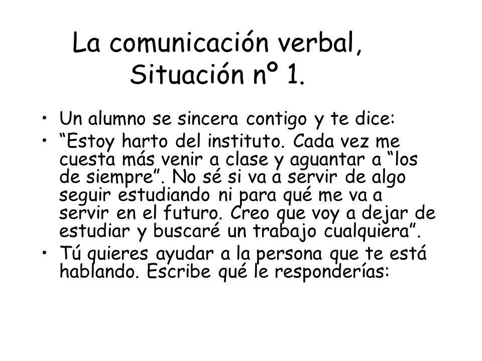 La comunicación verbal, Situación nº 1.