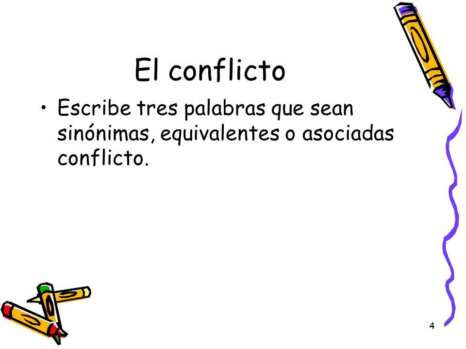 El conflicto Escribe tres palabras que sean sinónimas, equivalentes o asociadas conflicto.