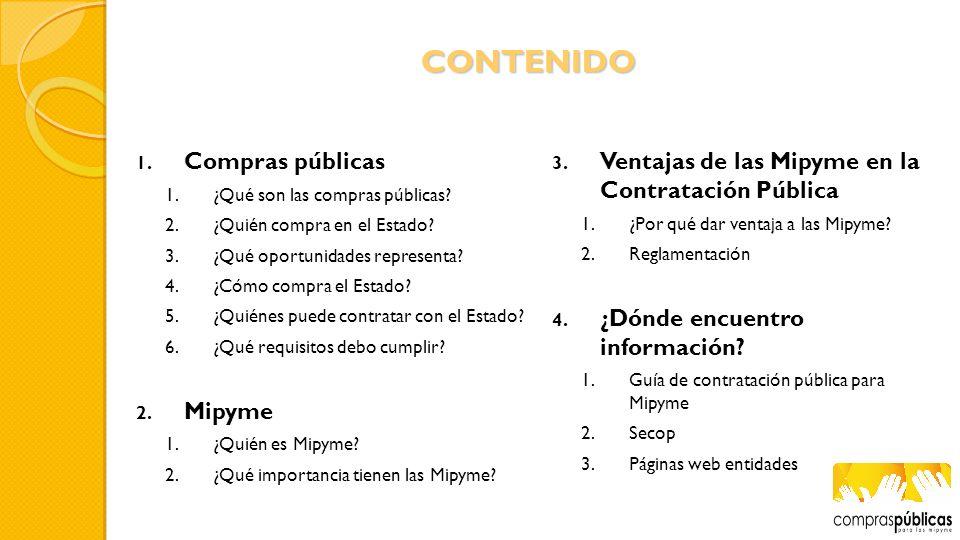CONTENIDO Compras públicas Mipyme
