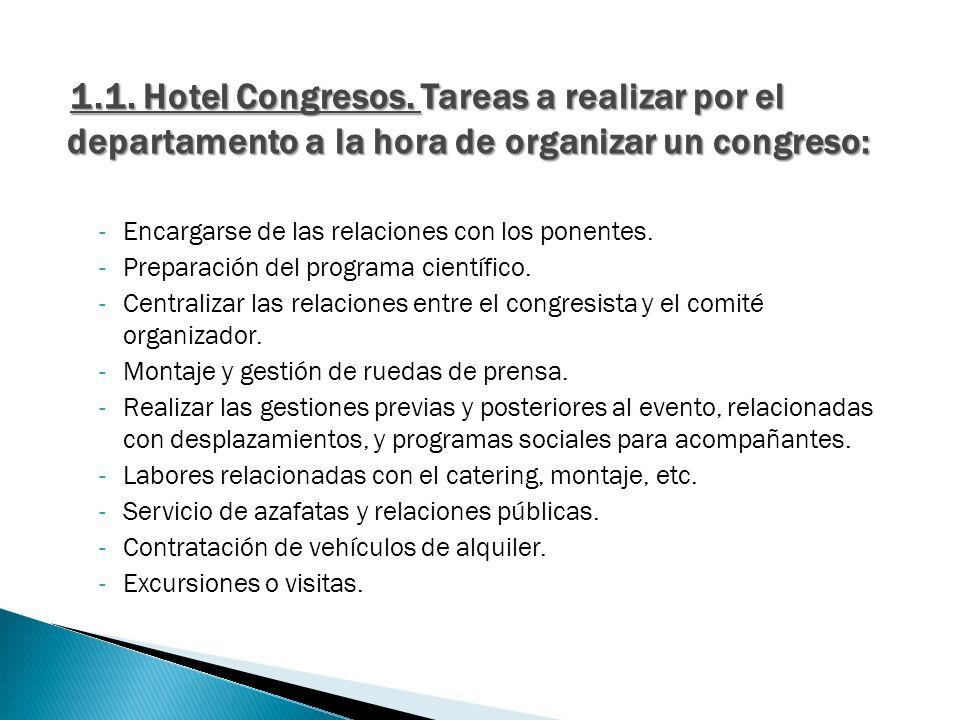 1.1. Hotel Congresos. Tareas a realizar por el departamento a la hora de organizar un congreso: