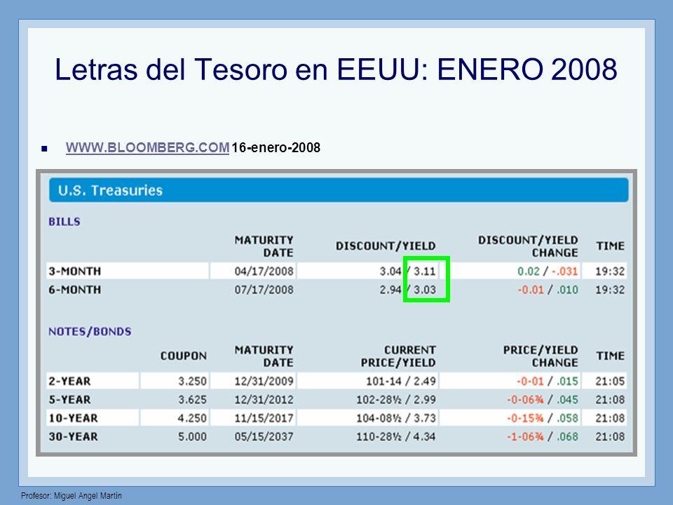 Letras del Tesoro en EEUU: ENERO 2008