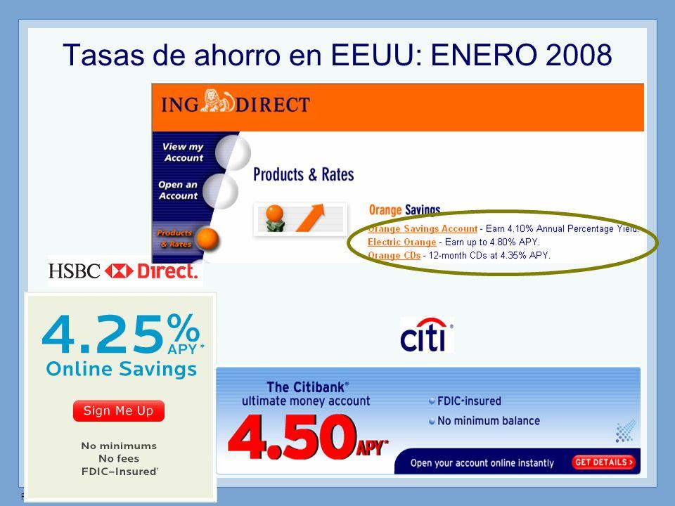 Tasas de ahorro en EEUU: ENERO 2008