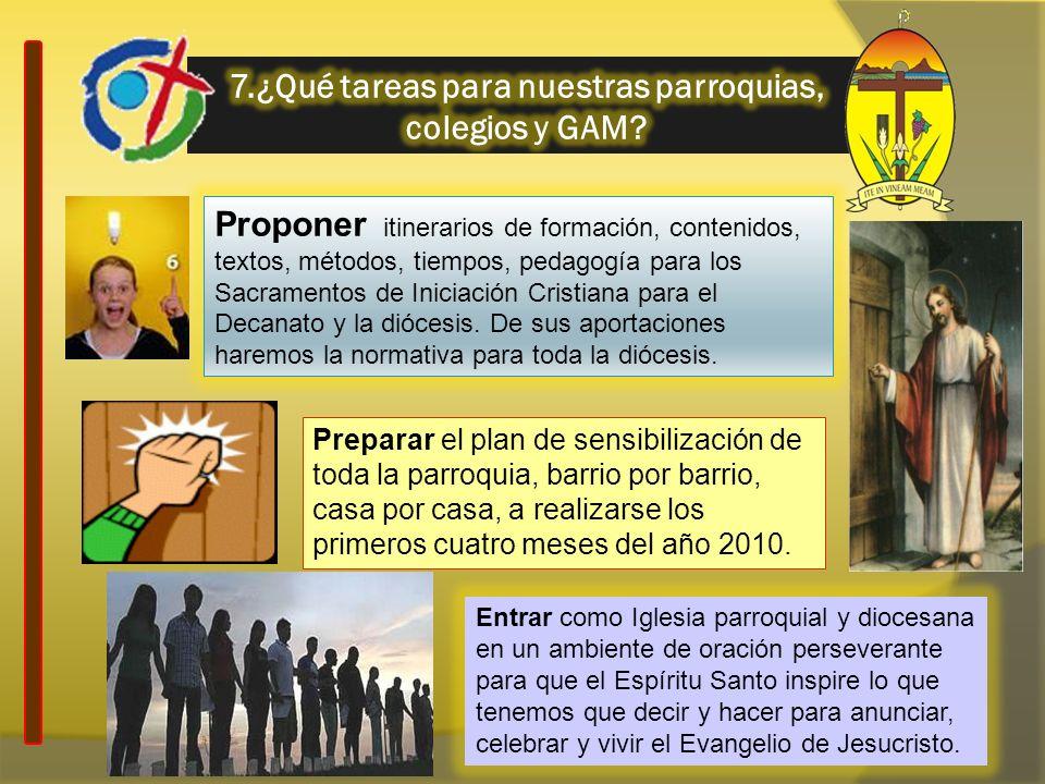7.¿Qué tareas para nuestras parroquias, colegios y GAM