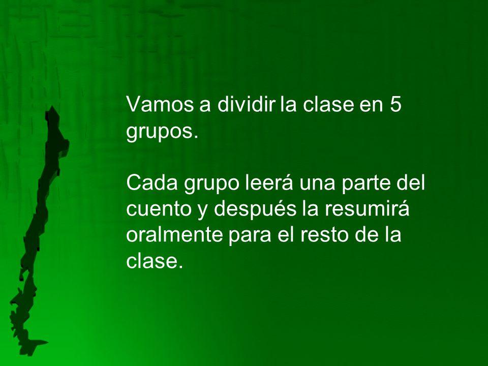 Vamos a dividir la clase en 5 grupos