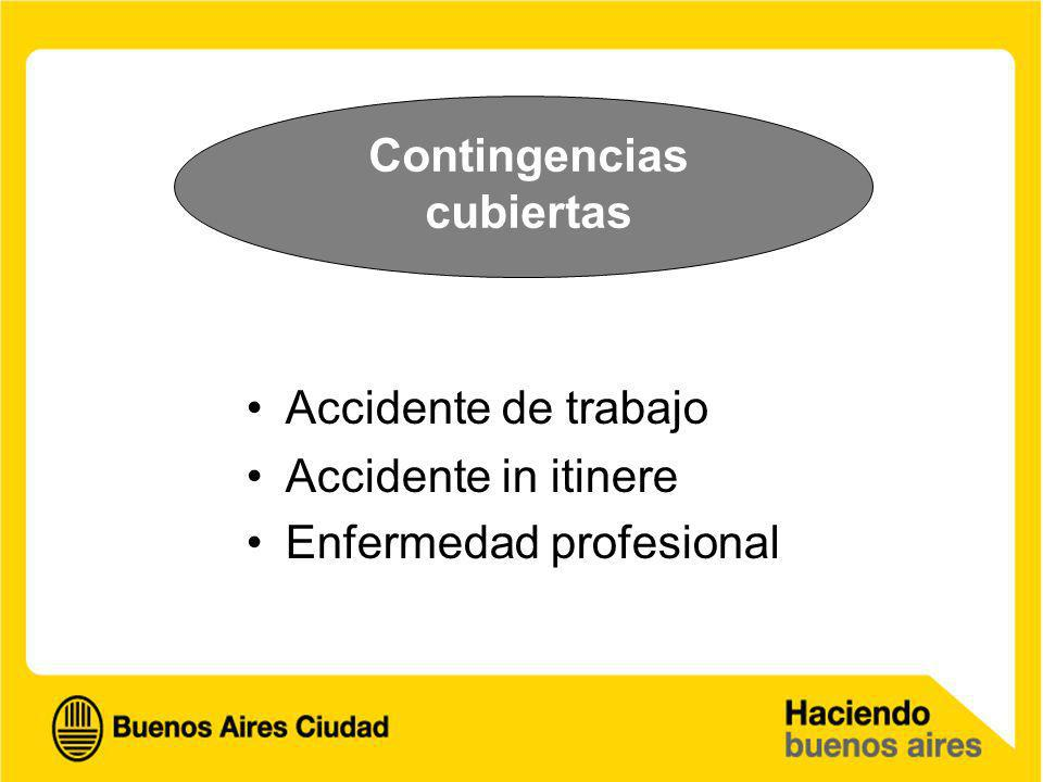 Contingencias cubiertas Accidente de trabajo Accidente in itinere Enfermedad profesional
