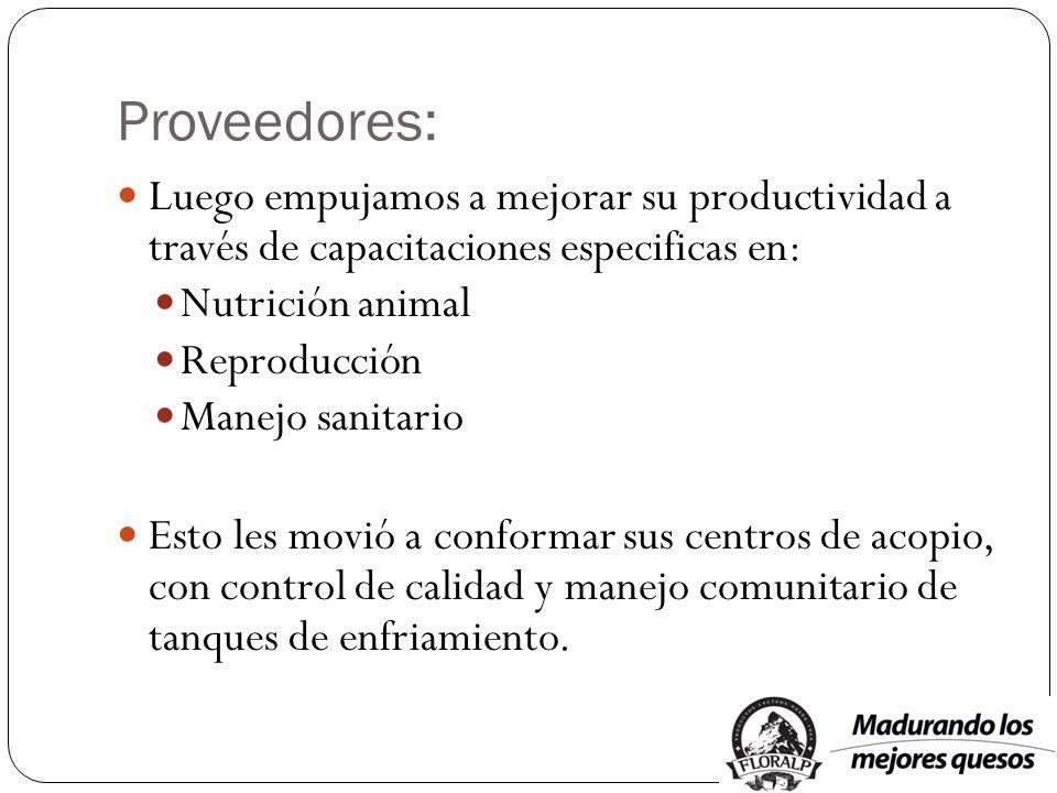 Proveedores: Luego empujamos a mejorar su productividad a través de capacitaciones especificas en: