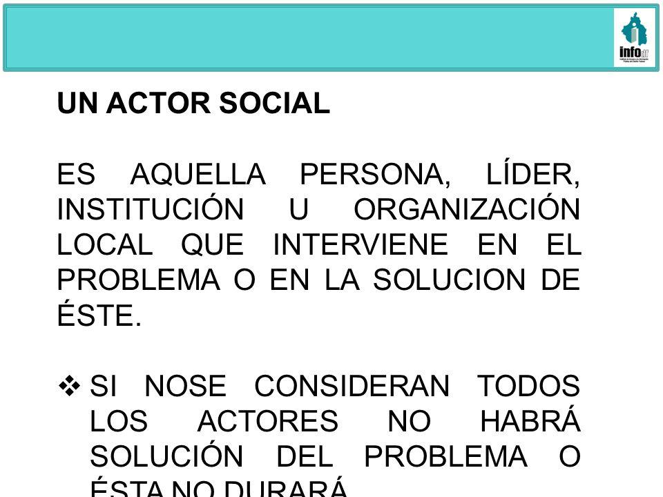 UN ACTOR SOCIALES AQUELLA PERSONA, LÍDER, INSTITUCIÓN U ORGANIZACIÓN LOCAL QUE INTERVIENE EN EL PROBLEMA O EN LA SOLUCION DE ÉSTE.