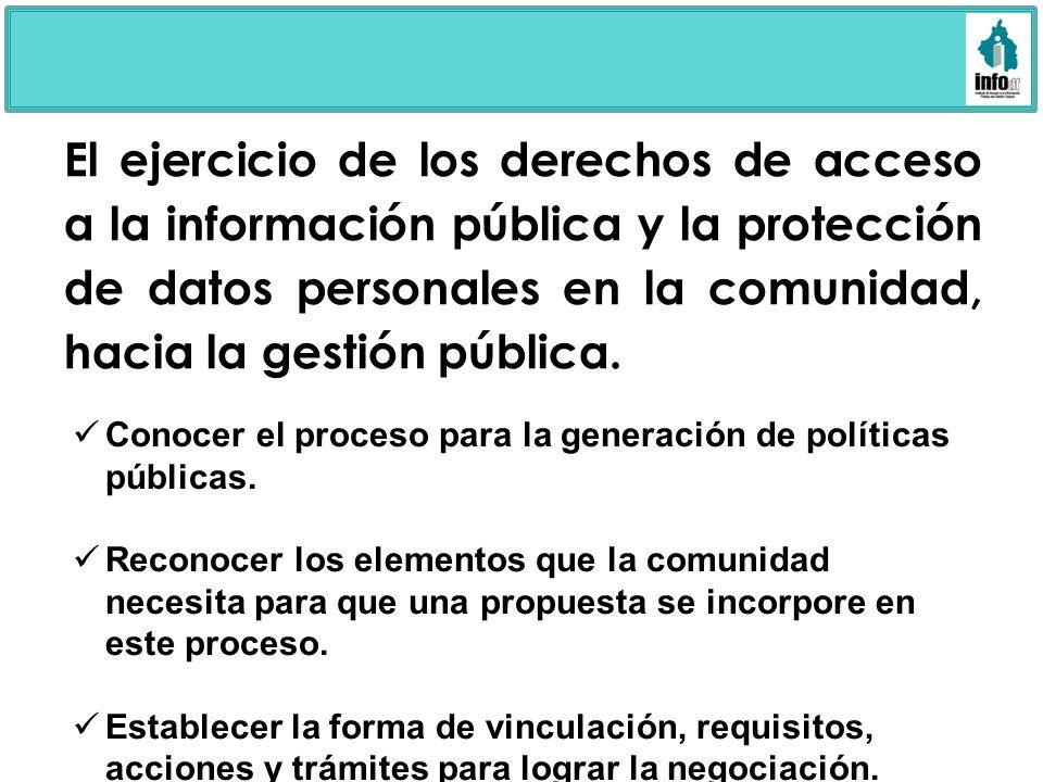 El ejercicio de los derechos de acceso a la información pública y la protección de datos personales en la comunidad, hacia la gestión pública.