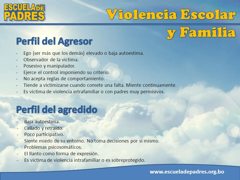 Violencia Escolar y Familia ESCUELA org.bo DE PADRES