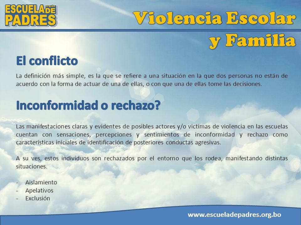 Violencia Escolar y Familia ESCUELA org.bo DE PADRES El conflicto