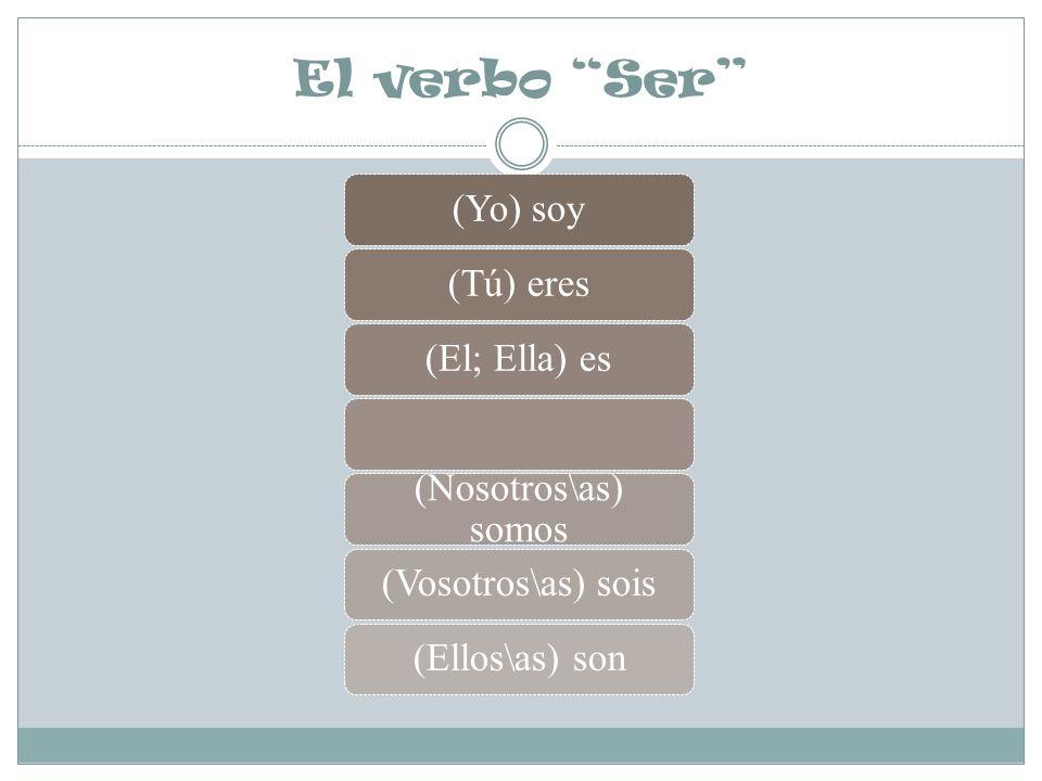 El verbo Ser (Yo) soy (Tú) eres (El; Ella) es (Nosotros\as) somos