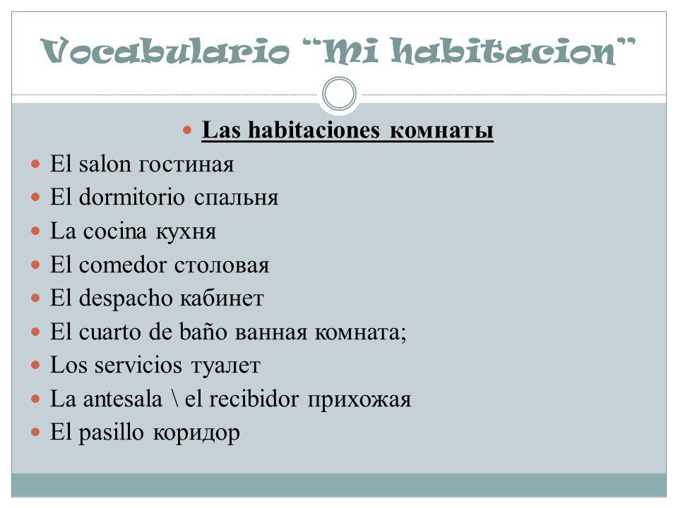 Vocabulario Mi habitacion