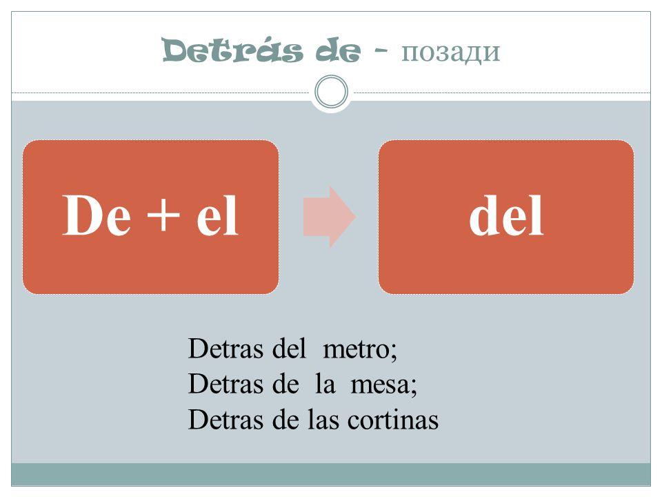 De + el del Detrás de - позади Detras del metro; Detras de la mesa;
