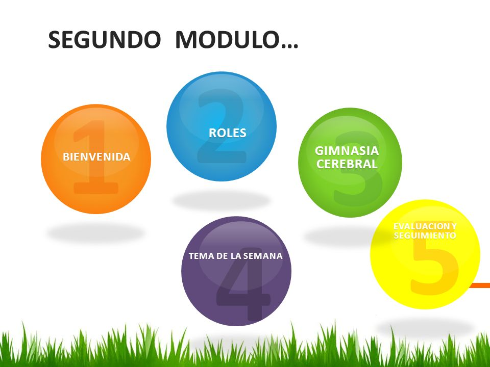 2 1 3 5 4 SEGUNDO MODULO… ROLES GIMNASIA CEREBRAL BIENVENIDA